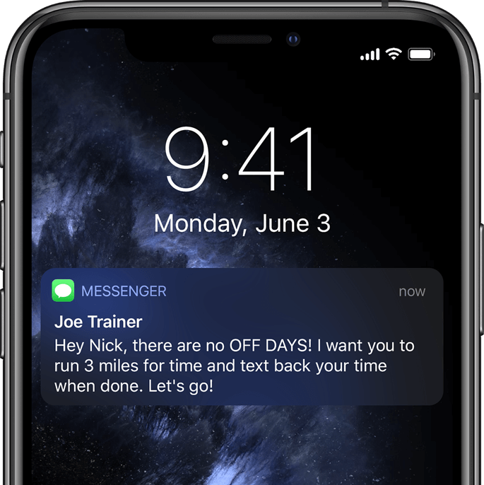 Automated text message from Off Day Trainer
